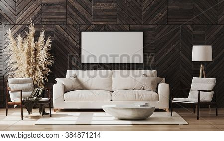 Blank Picture Frame Mock Up In Modern Living Room Interior With Wooden Wall Panel, Wooden Chairs And