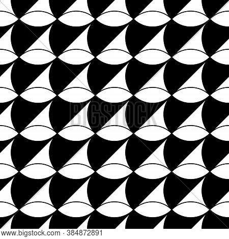 White Figures On Black Background. Texture With Oval And Triangular Shapes. Ethnic Motif. Seamless S