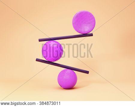 Balancing balls, creative concept, bright colours, 3D illustration, rendering.