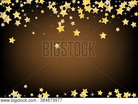 Yellow Twinkle Stars Vector Brown Background. Digital Sparkle Texture. Space Banner. Golden Festive
