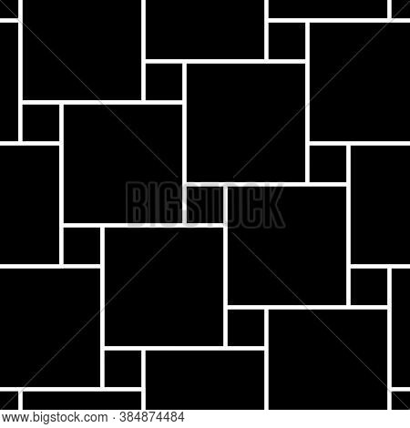 Pythagorean Tiling. Seamless Surface Pattern Design With Flooring Ornament. Squares Tessellation Vec