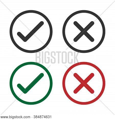 Check Mark Vector Icon Set. Right And Wrong Symbol. Approved And Denied Sign. Correct And Incorrect
