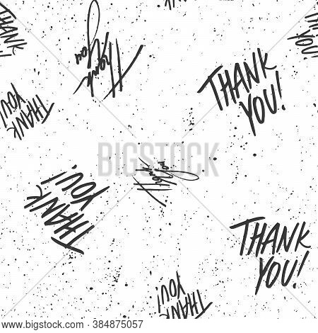 Thank You. Trendy Lettering With Pop Art Seamless Text. Seamless Texture. Vintage Background Poster.