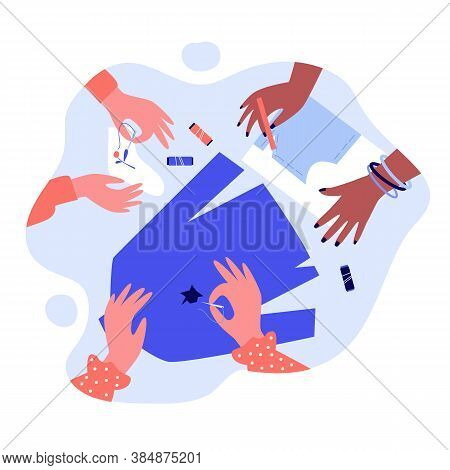 Hands Mending Clothes And Sewing With Needle. Sock, Fancywork, Thread Flat Vector Illustration. Embr