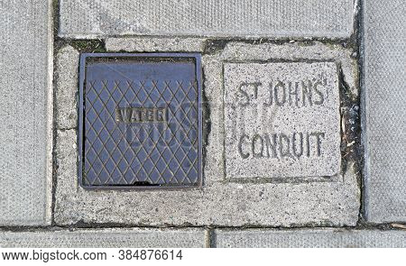Bristol, Uk - February 10, 2016: A Stone Block In The Pavement On Park Street Marking The Course Of