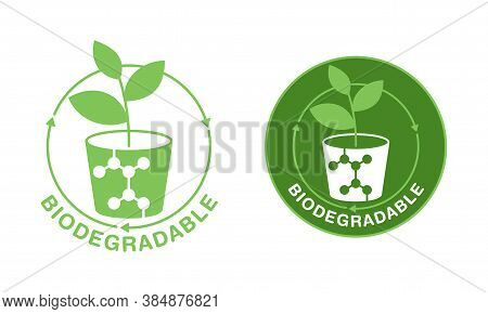 Biodegradable Polymers Icon - Green Emblem With Plastic Polymer Molecular Structure And Flowerpot -