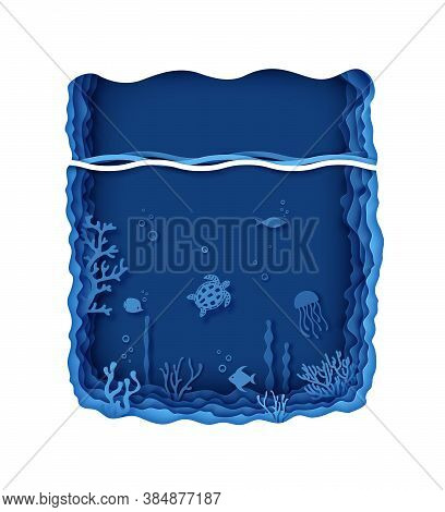 Paper Craft Layered Background Under Ocean Cave With Fishes Coral Reef Seabed In Algae Waves. Aquari