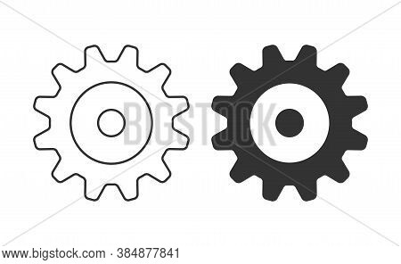 Cogwheel Icon. Sprocket Wheel Logo. Settings Button Sign. Mechanic Gears Symbol. Black Silhouette Is
