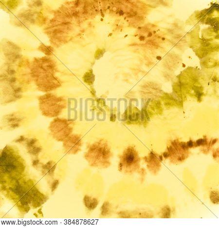 Tie Dye Spiral Background. Yellow Batik Print. Rock Watercolor Backdrop. Tie Die Circular Kaleidosco
