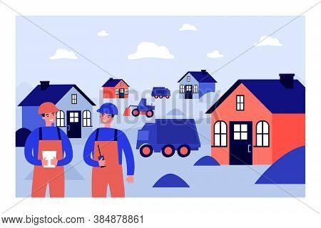 Professional Builders Constructing Houses. Car, Engineer, Site Flat Vector Illustration. Constructio