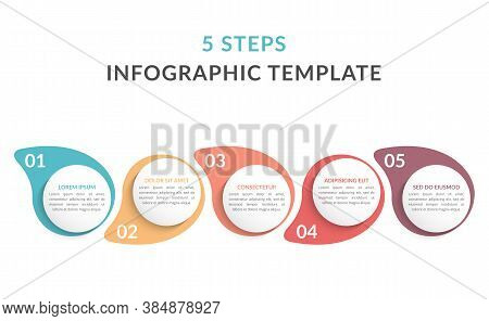 Infographic Template With 5 Steps, Workflow, Process Chart, Vector Eps10 Illustration