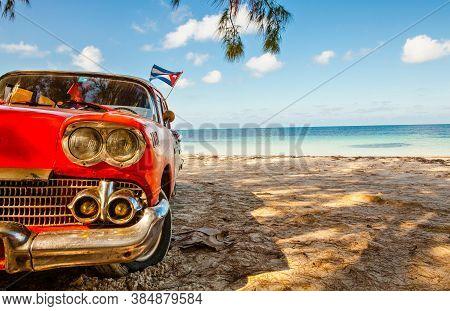 Cayo Jutias, Cuba - December 14, 2016: American Classic Car On The Beach Cayo Jutias, Province Pinar