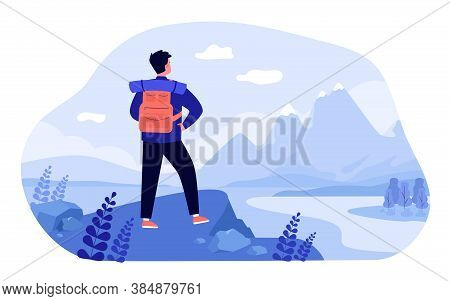 Adventure Travel Concept. Tourist Exploring Mountains. Man With Backpack Standing At Cliff And Admir