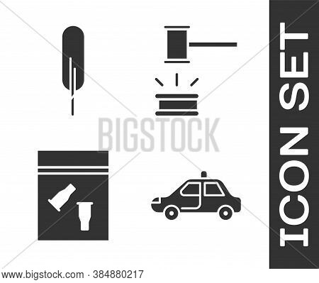 Set Police Car And Flasher, Feather Pen, Evidence Bag And Bullet And Judge Gavel Icon. Vector