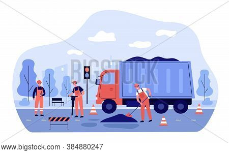 Workers Repairing Road. Men In Overalls Spreading Asphalt From Truck. Vector Illustration For City S