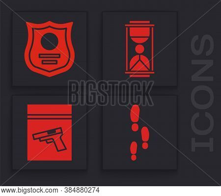 Set Footsteps, Police Badge, Old Hourglass With Sand And Evidence Bag And Pistol Or Gun Icon. Vector