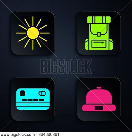 Set Beanie Hat, Sun, Credit Card And Hiking Backpack. Black Square Button. Vector