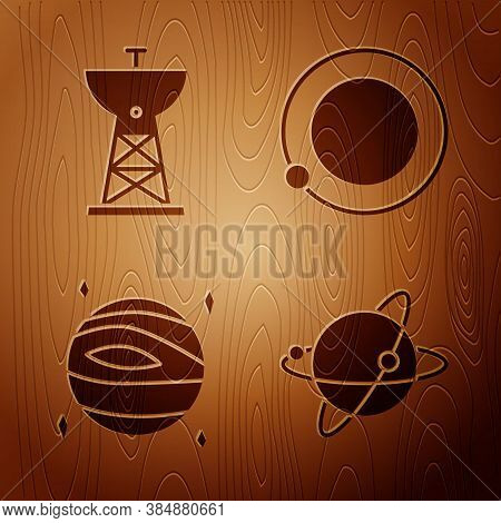 Set Satellites Orbiting The Planet Earth, Satellite Dish, Planet Venus And Satellites Orbiting The P