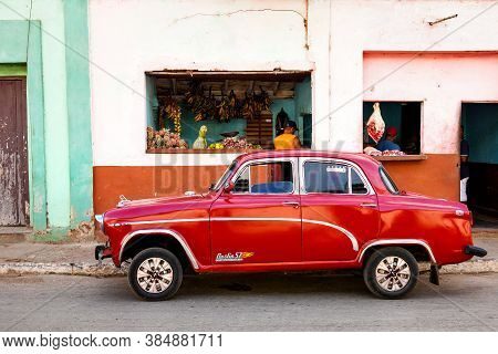 Classic Car In The Colonial Town Of Trinidad, Cuba