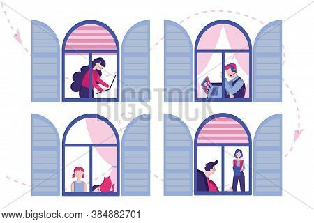 Vector Illustration. Apartment Building With Open Windows, Neighbors Communicate, Someone Works, Com