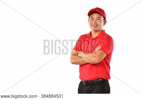 Portrait Of Asian Delivery Man, Messenger, Employee, Worker, Service Provider Smiling And Looking Ha