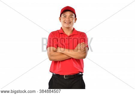 Portrait Of Male Delivery Man, Messenger, Employee, Worker, Service Provider Smiling And Looking Hap