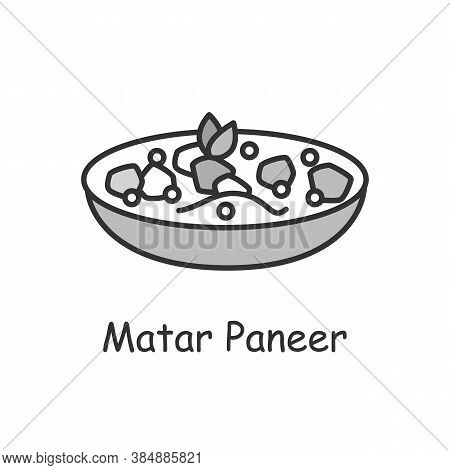 Matar Paneer Line Icon. North Indian Cuisine. Peas And Paneer In Tomato Sauce. Traditional Delicious
