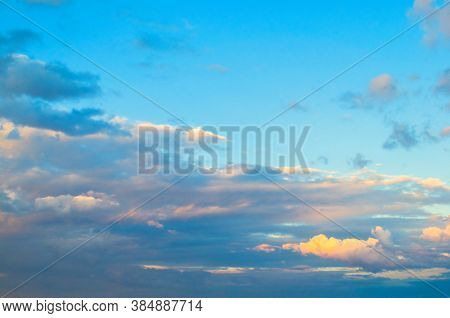 Blue dramatic sky background - sunset dramatic colorful clouds lit by sunlight. Vast sky landscape panoramic scene, sunset sky background, Sky landscape, sky colorful view