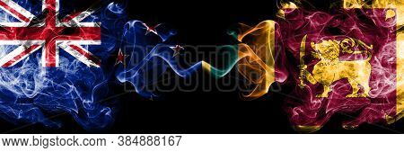 New Zealand Vs Sri Lanka, Sri Lankan Smoky Mystic Flags Placed Side By Side. Thick Colored Silky Abs