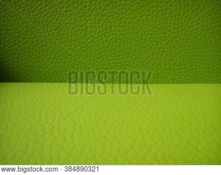 Artificial Leather In Two Colors - Green And Bright Green. Texture. Two Shades Of Green