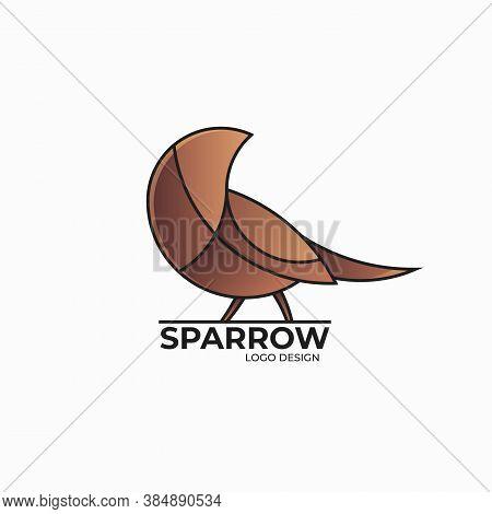 Vector Illustration Of Sparrow Logo Design Template