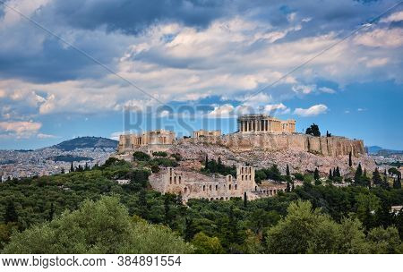 View Of Acropolis Hill And Theater Of Odeon In Athens, Greece From The Hill Of Philoppapos Or Muses