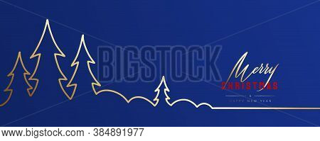 Merry Christmas And Happy New Year Greeting Card. Fancy Classic Blue Colour Background With Letterin