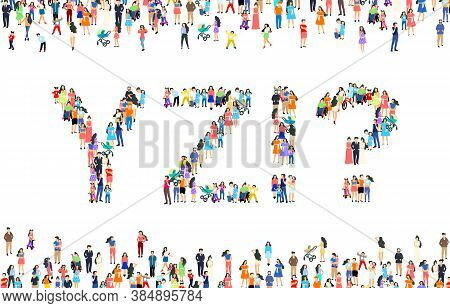 Large Group Of People In Letter Y, Z, Excitement, Question Sign. People Font Set. Vector