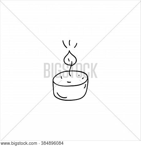 Burning Candle. Hand-drawn Candle. Doodle Element. Simple Vector Sketch Illustration Isolated On A W