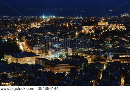 Night View Of Athens And Acropolis, Parthenon And Erechtheion, Hellenic Parliament In City Lights. F