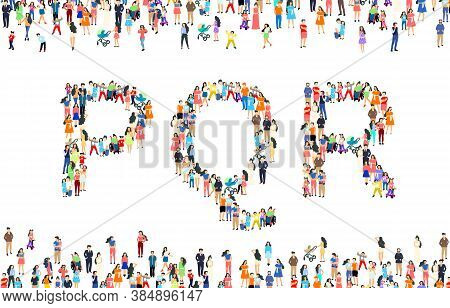 Large Group Of People In Letter P, Q, R Sign. People Font Set. Vector