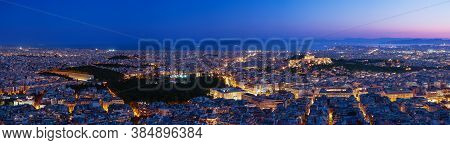 Panorama Of Athens And Saronic Gulf From Lycabettus Hill At Dusk. Acropolis, Parthenon, Hellenic Par