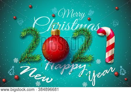 Merry Christmas And Happy New Year 2021 Greeting Card, Vector Illustration - New Year 2021 Greeting