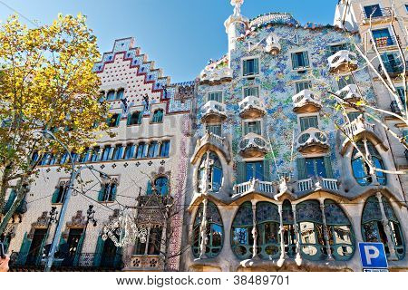 Barcelona, Spain - November 11: Modernist Houses. They Are Major Touristic At