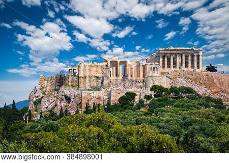 Great View Of Acropolis Hill From Pnyx Hill On Summer Day With Great Clouds In Blue Sky, Athens, Gre