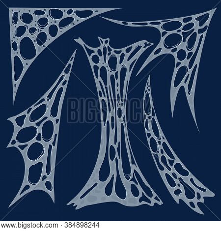 Creepy Halloween Spider Web Clipart Set. Spooky Cobweb In Corner Vector Illustration Pack. Cartoon F