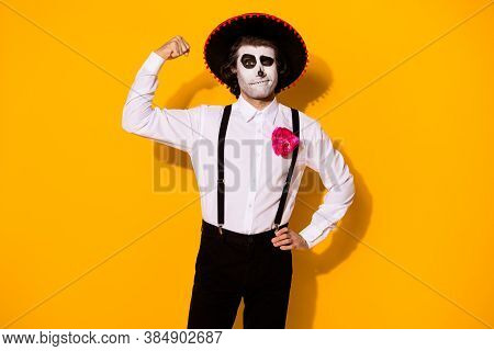 Photo Of Creepy Toreador Guy Show Biceps Hand Hip Challenge Mad Bull Duel Powerful Victorious Hero W