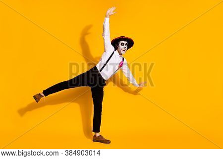 Full Length Photo Of Spooky Zombie Guy Dance Pretend Fly Airplane Pose Festival Raise Hands Excited