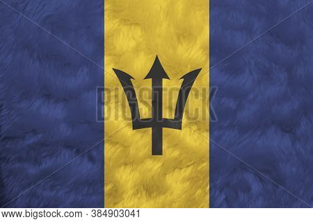 Towel Fabric Pattern Flag Of Barbados, Crease Of Barbadian Flag Background, Triband Of Ultramarine (