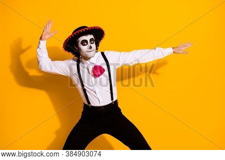 Photo Of Creepy Funky Zombie Creature Posing Dancing Latino Spanish Dance Festival Guy Wear White Sh