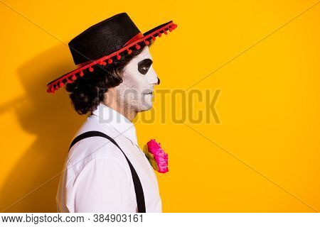 Closeup Profile Photo Of Spooky Scary Undead Guy Look Empty Space Serious Prepare Fight Other Creatu