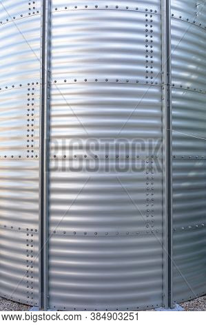Stainless Steel Metal Silo Wall At Farm