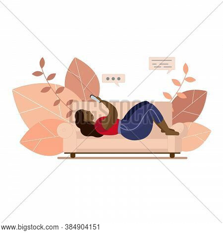 An Illustration Of A Black Woman Laying On A Couch With Her Smartphone. Curvy Lady Relaxing Home. Le