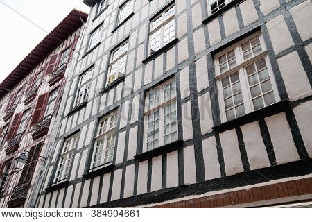 Traditional Ancient White House In Bayonne Bask City In French Basque Country